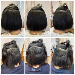 強いくせ毛のお客様を縮毛矯正した内側のビフォーアフター