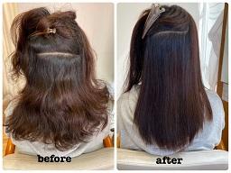 強いくせ毛の縮毛矯正のビフォーアフター