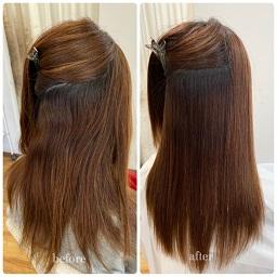縮毛矯正の内側のビフォーアフター
