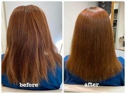 明るい髪を縮毛矯正したビフォーアフター