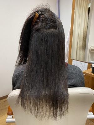 縮毛矯正をした後の内側