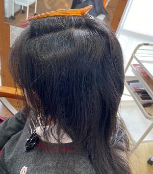 縮毛矯正をする前の表面