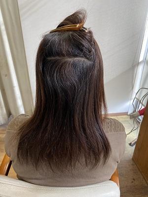 縮毛矯正をする前の内側